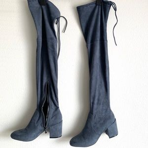 Blue/Grey Over the Knee Boots